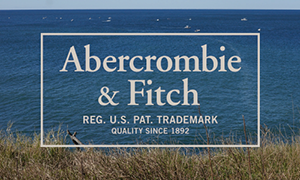 Gift card with an image of a grassy cliff with the ocean and sky in the background, with the words, Abercrombie & Fitch, Reg. U.S. Pat. Trademark, Quality Since 1892