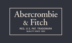 Dark navy blue gift card with the words, Abercrombie & Fitch, Reg. U.S. Pat. Trademark, Quality Since 1892